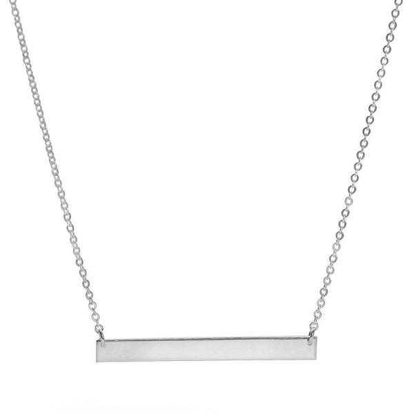 925 sterling silver bar looks suspended from a delicate chain necklace