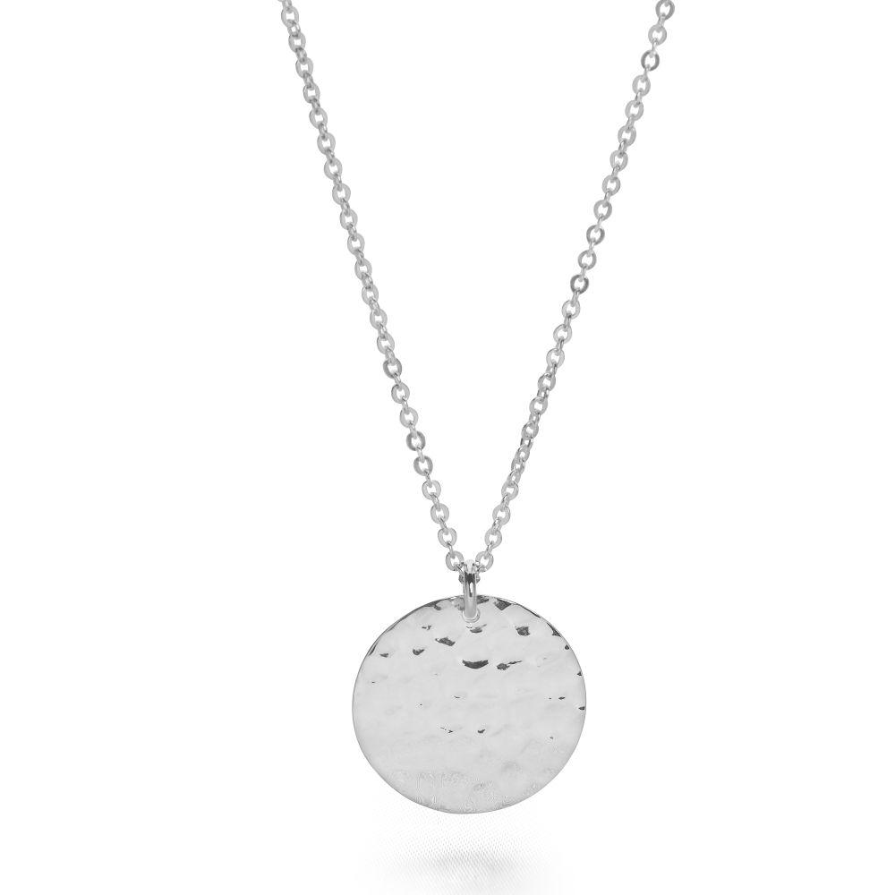 925 sterling silver hand hammered circle tag necklace