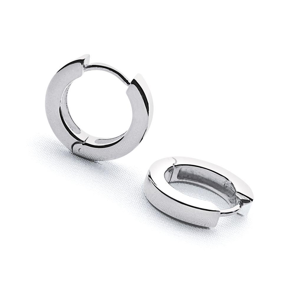 925 sterling silver chunky hoop earrings (E12741)