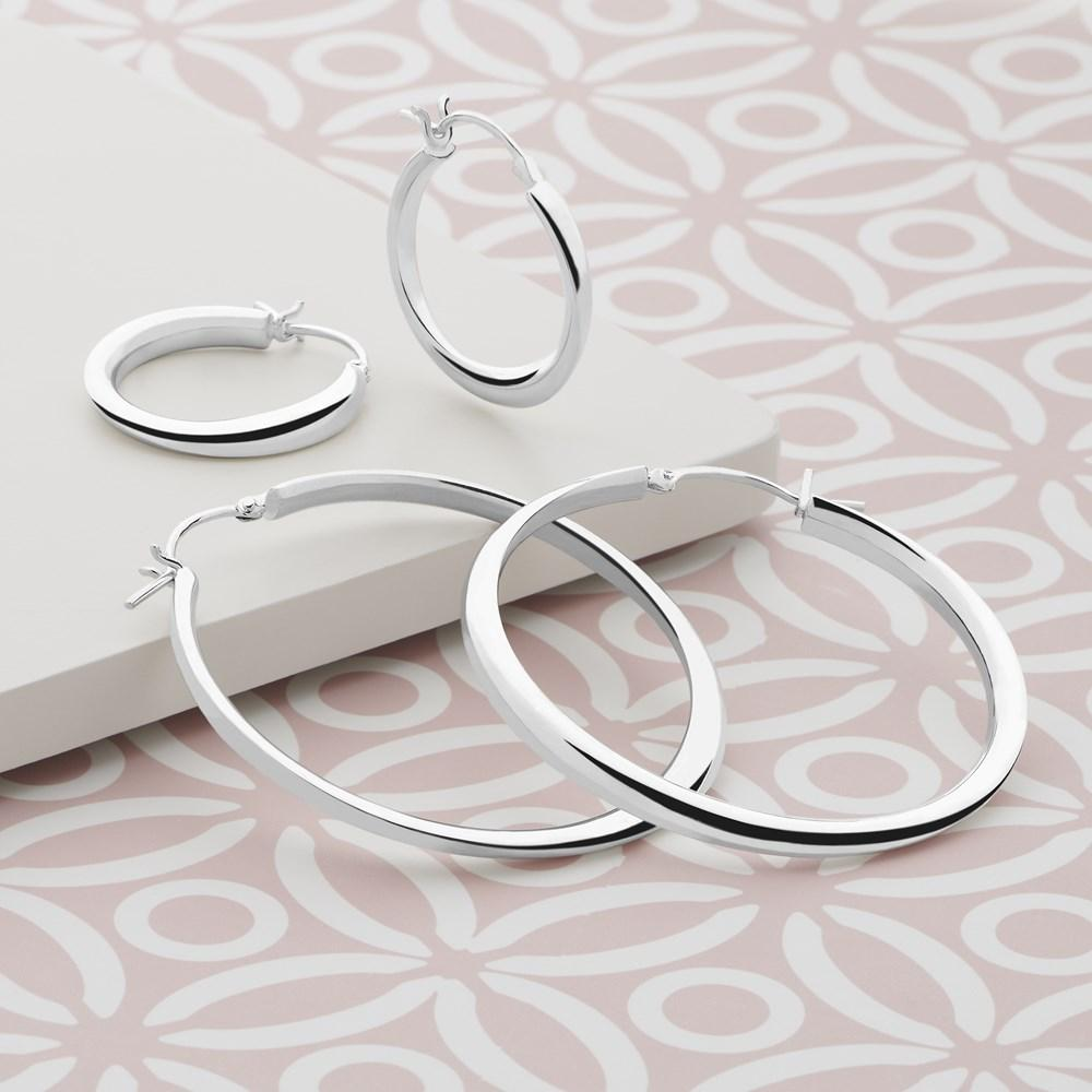 925 sterling silver hoop earrings (E23261)