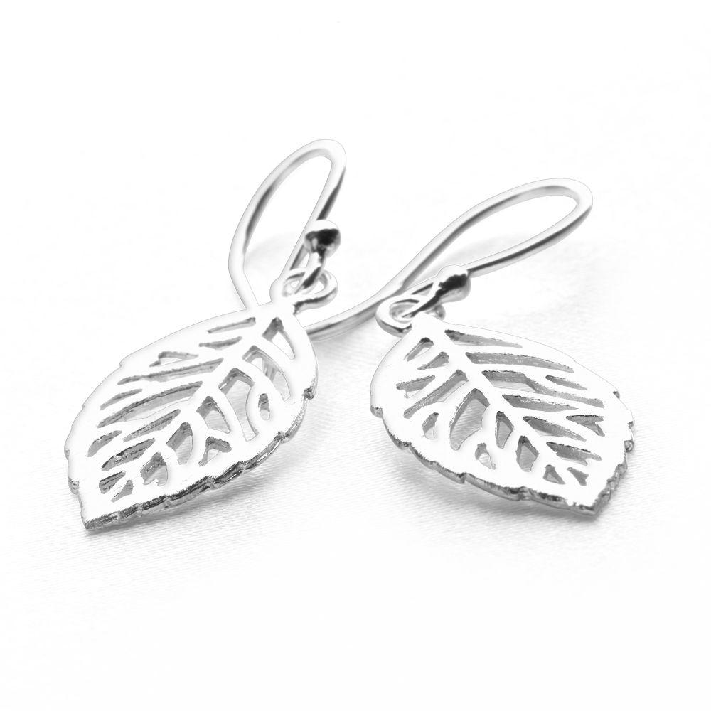 925 sterling silver leaf cutout shaped earrings (E28421)