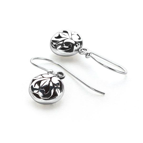 925 sterling silver round earrings with openwork swirls (E28431)