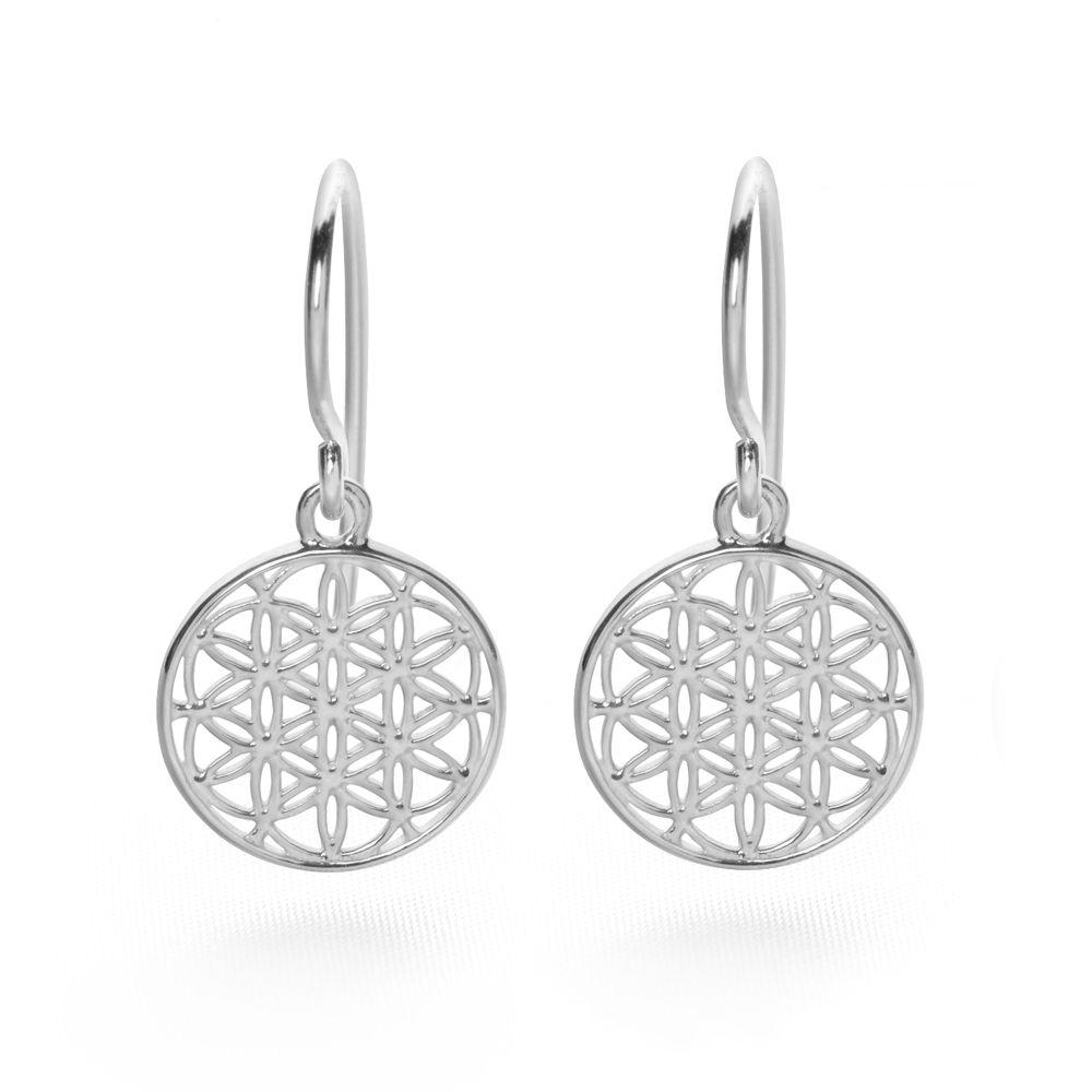 925 sterling silver flowers of life drop earrings