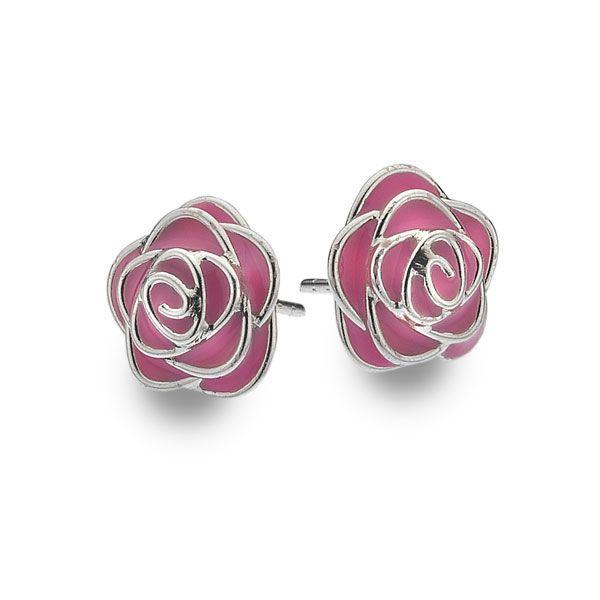 925 sterling silver rose buds with pink enamel petals. (E37031)