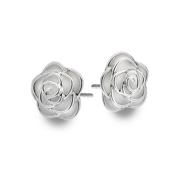 925 sterling silver rose buds with white enamel petals. (E37041)