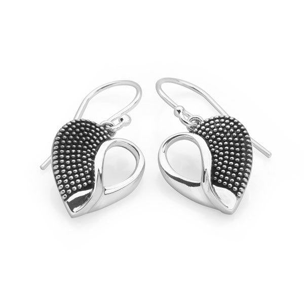 Silver heart with one half silver dots and half cut-out silver loop hook earrings