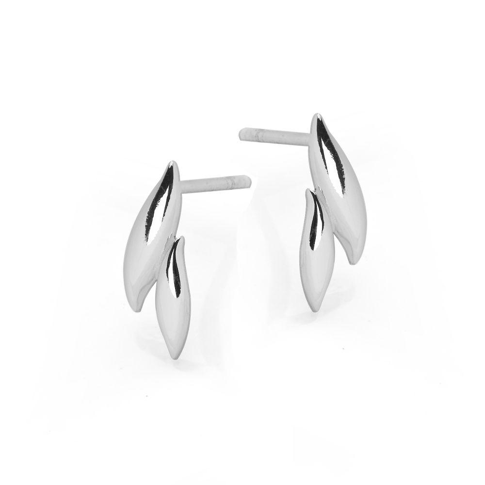 Two silver curves fused together stud earrings