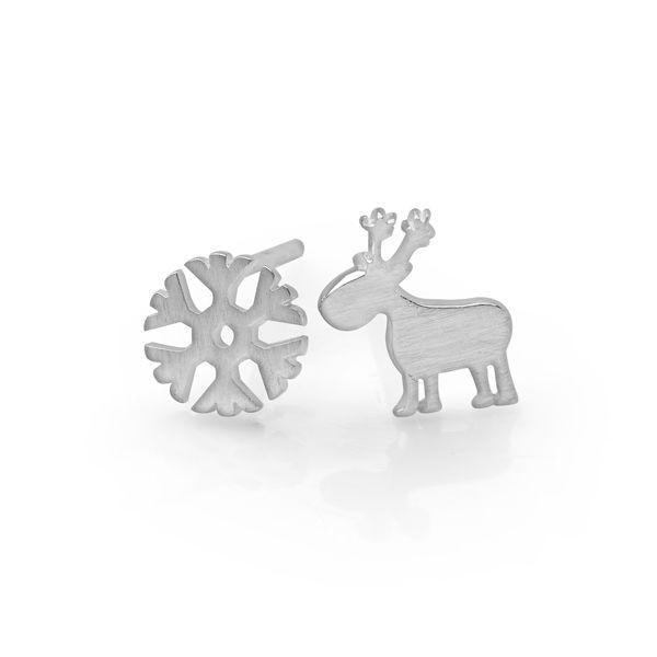 Sterling silver, matte finish snowflake and reindeer stud earrings