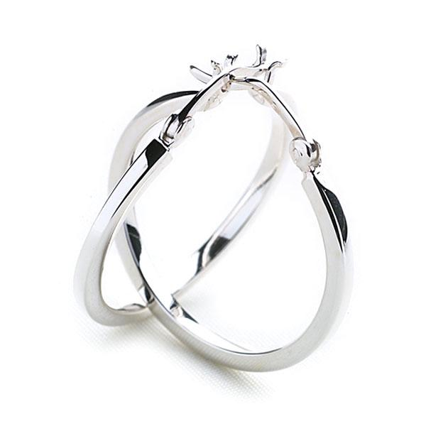 925 sterling silver chunky squared edge hoop earring 40 mm