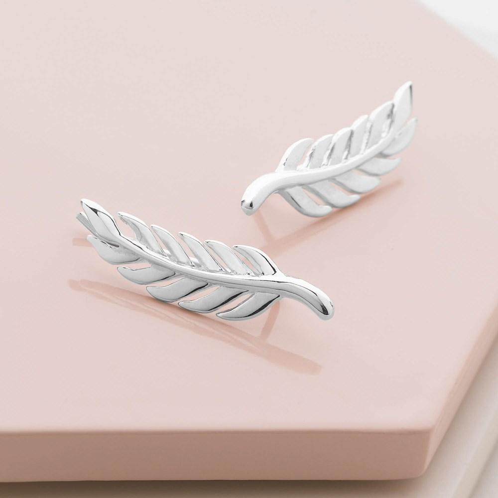 925 sterling silver feather earrings. (E44781)