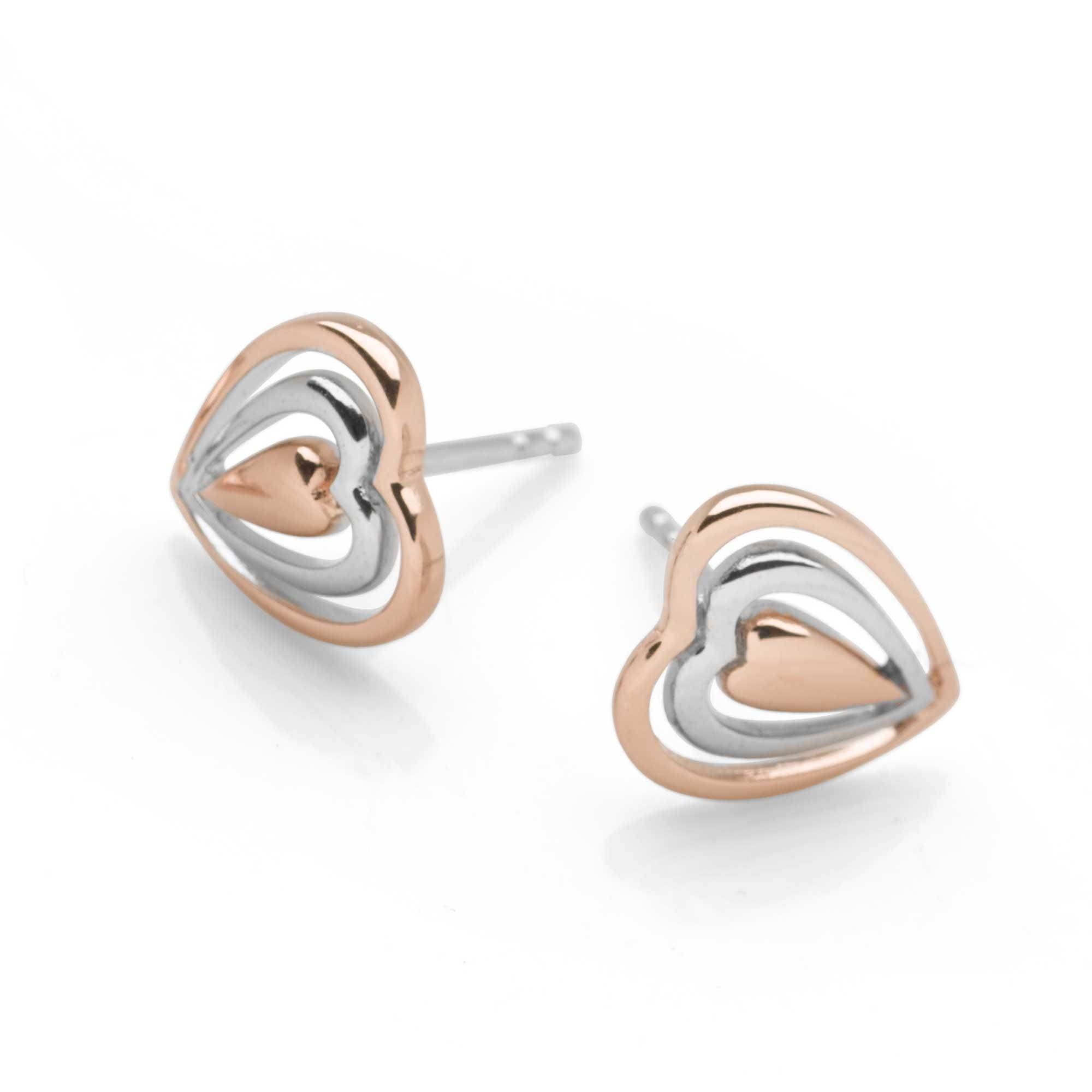Triple the Love Heart Studs with 925 sterling silver & pink rhodium plating (E45031)