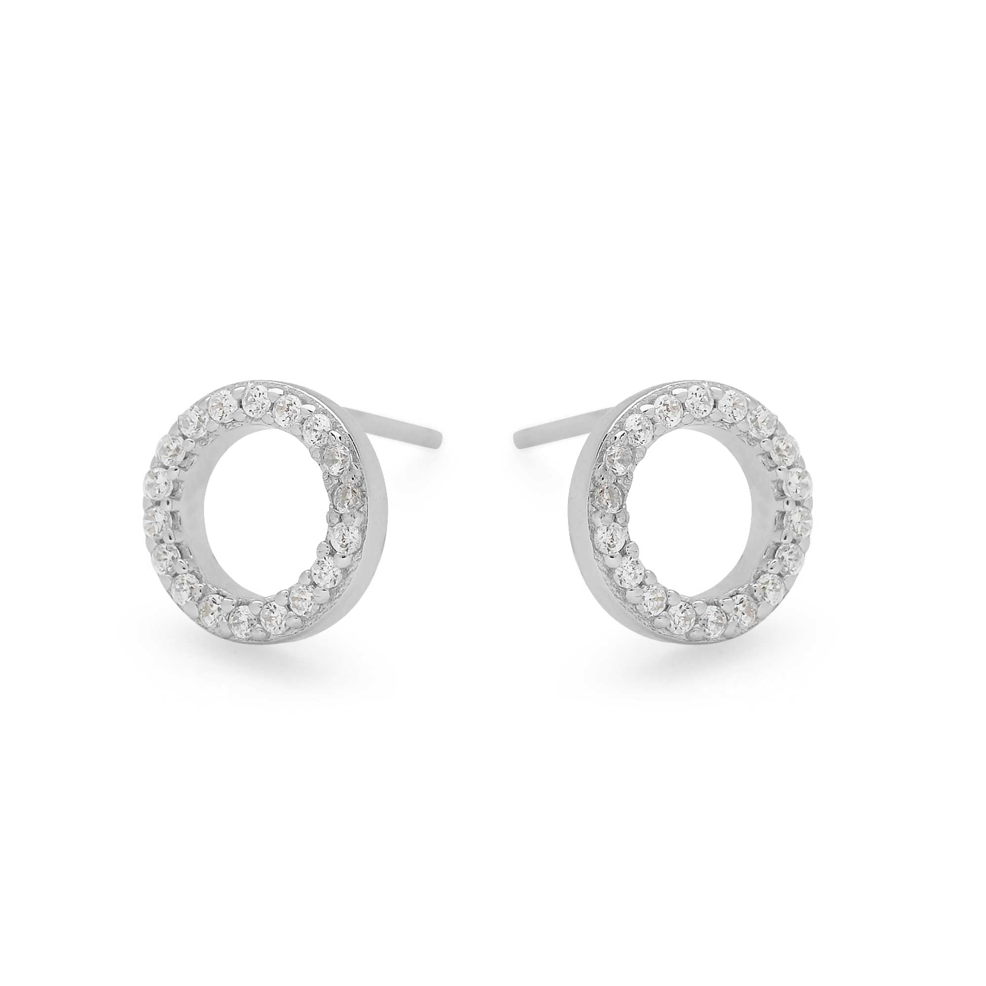 925 sterling silver cubic zirconia circle studs (E47621)