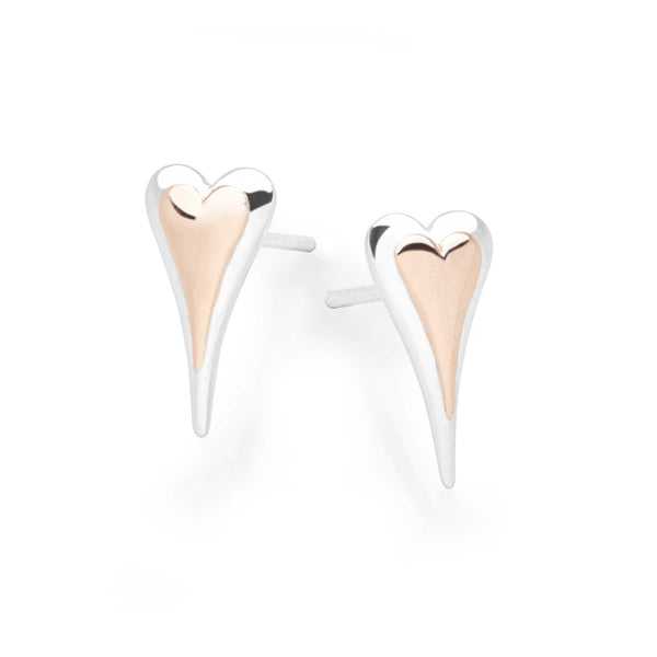 925 sterling silver elongated heart studs with middle heart of rose gold (E50901)