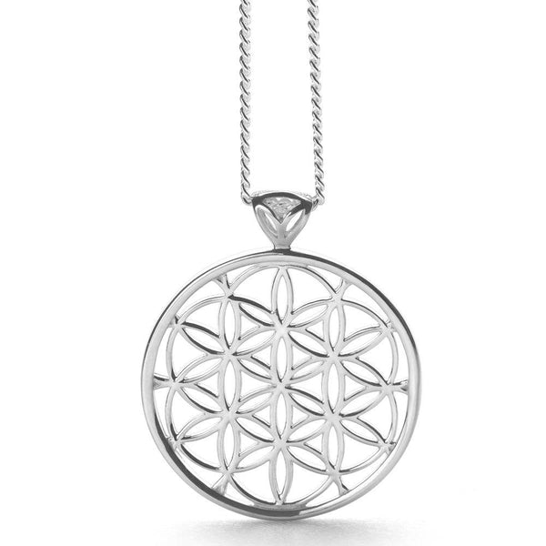 925 sterling silver flowers of life pendant on silver curb chain