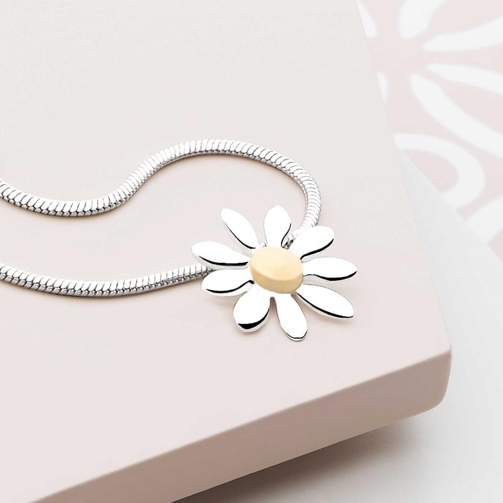 925 sterling silver daisy pendant with gold plate middle (P20581)
