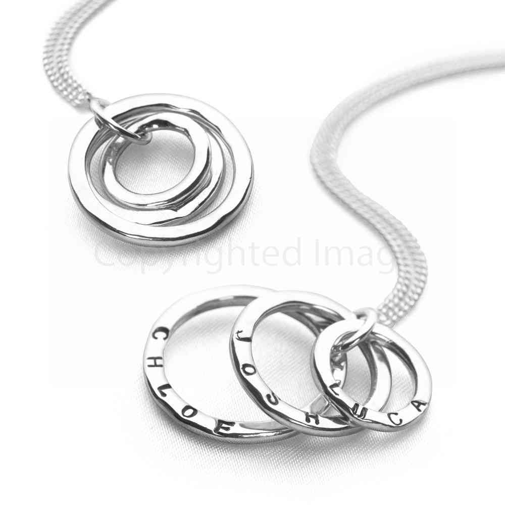 3 silver hammered personalised rings on curb chain