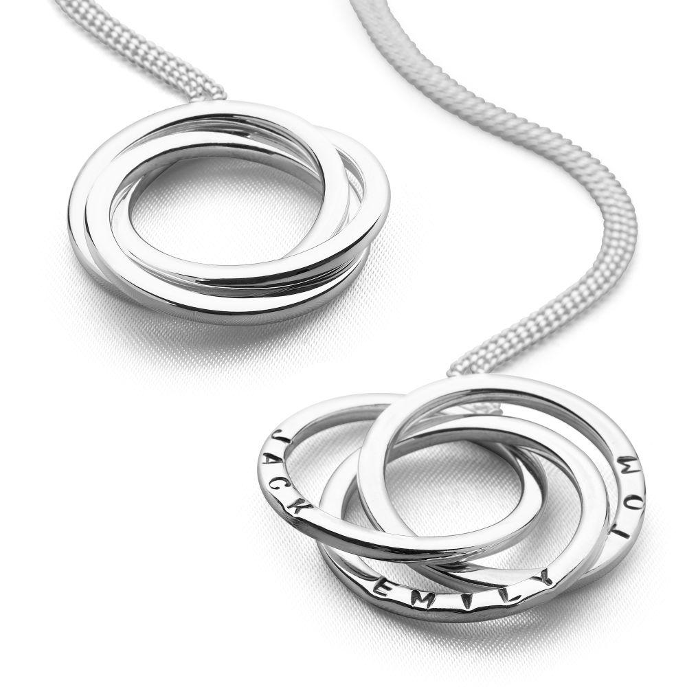 3 Silver intertwined personalised rings pendant with curb chain
