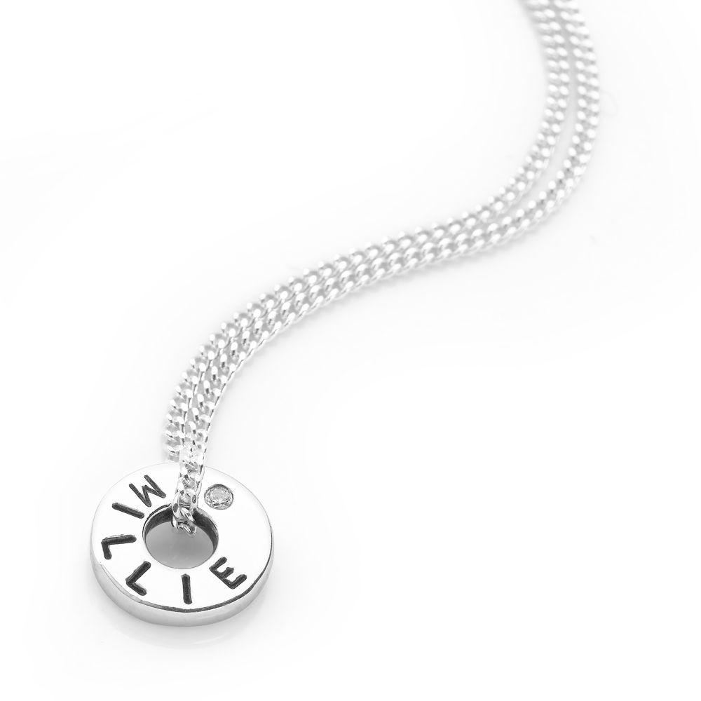 Silver personalised circle with cubic zirconia pendant on curb chain