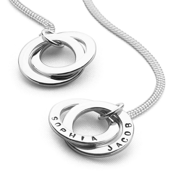 Personalised double 925 stelring silver ring pendant on curb chain (P23051)