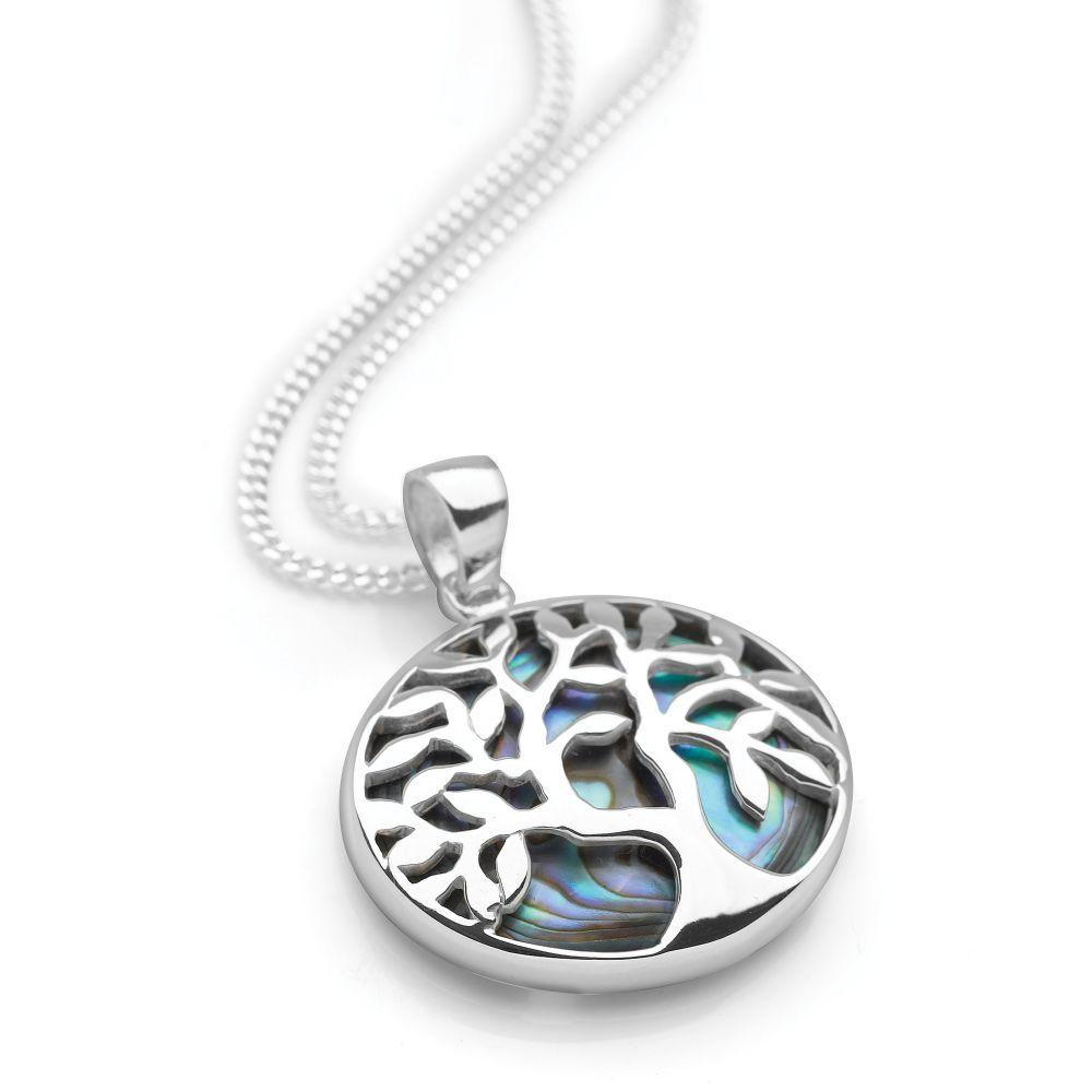 Sterling silver pendant is designed to embody the ancient tree of lifemade with a backdrop of abalone. Rhodium plated for a strong back view.