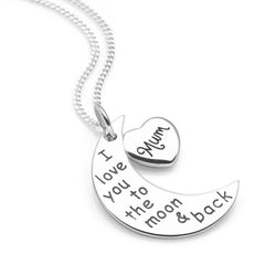 925 sterling silver crescent moon engraved with 'I love you to the moon and back' with a silver heart charm engraved with 'Mum' pendant on a curb chain