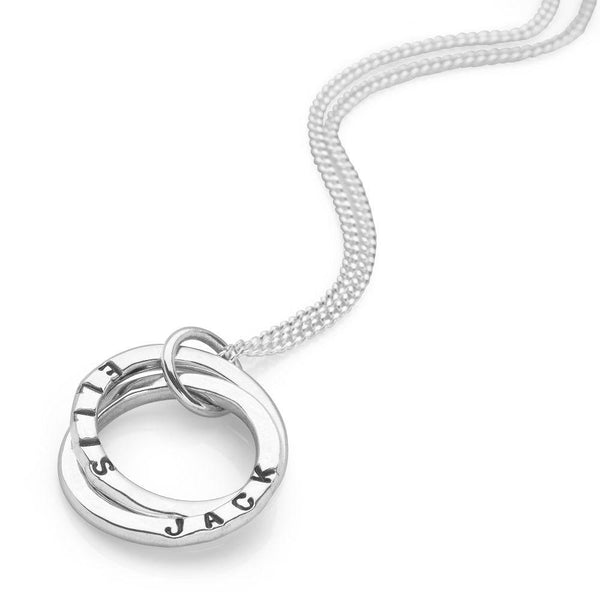 Two intertwined925 sterling silver personalised rings on a curb chain (P25161)