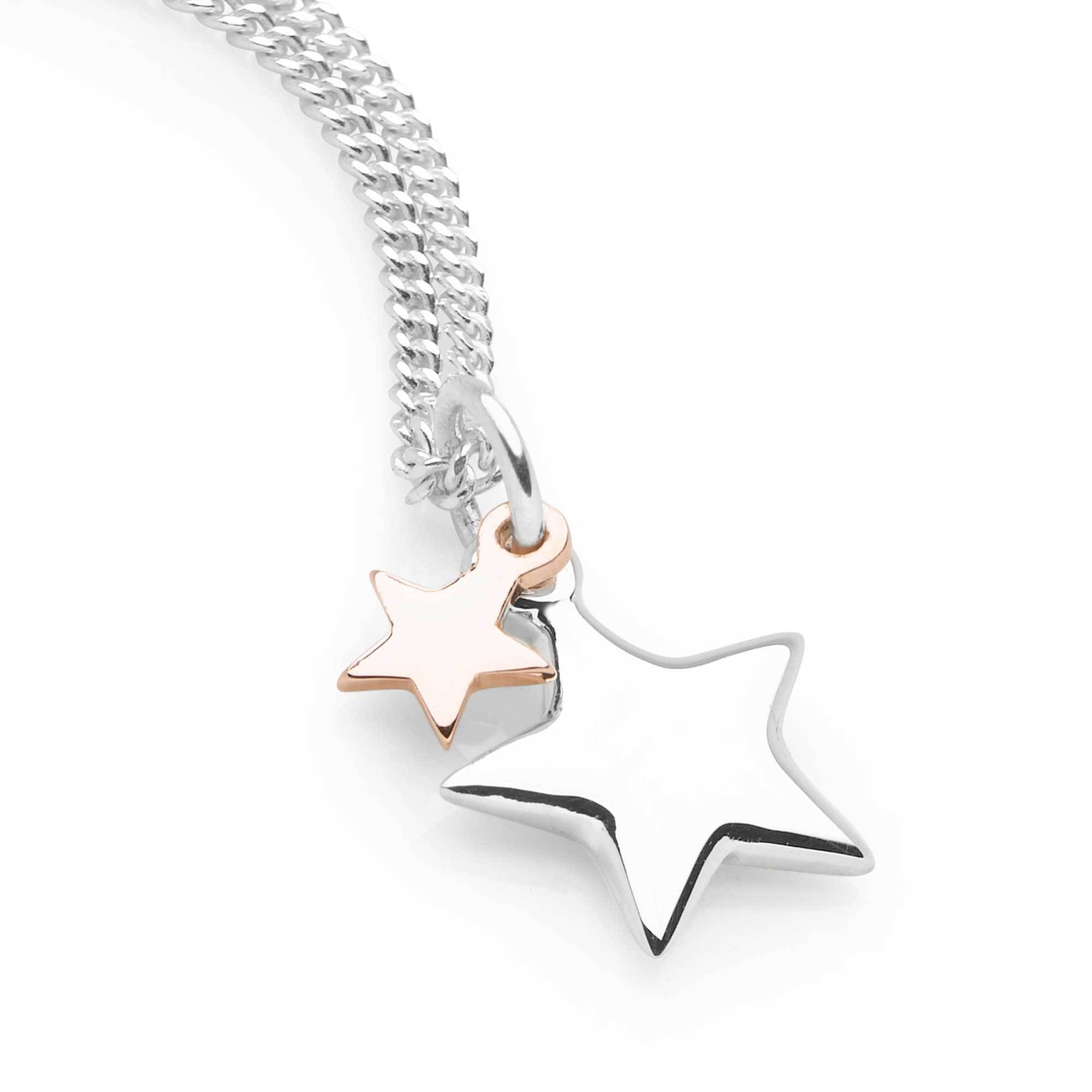 Shooting Stars Pendant (P2712) with two stars, one in sterling silver, one in gold plate