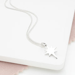 925 sterling silver north star pendant (P2761S1)