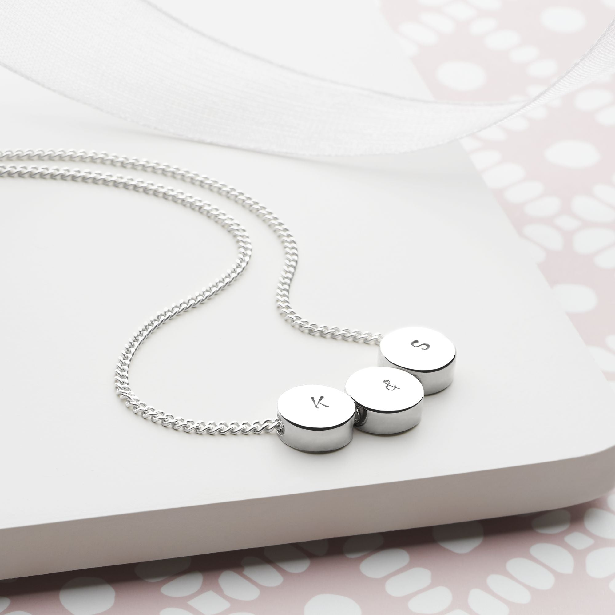 Personalised Silver Bead Necklace (P28991)