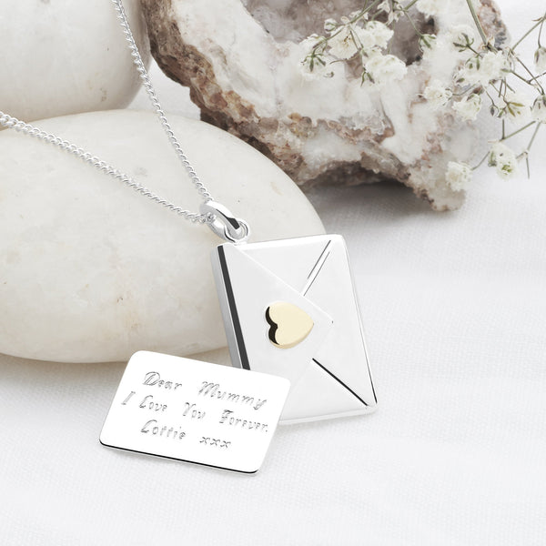 925 sterling silver personalised note & envelope with gold plate heart pendant (P2906S1)