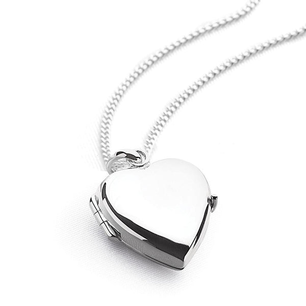 925 sterling silver heart shaped locket with curb chain