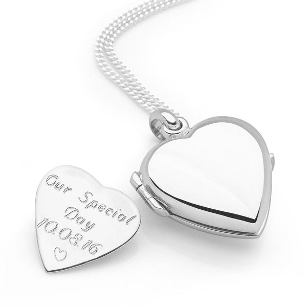 925 sterling silver heart locket with curb chain & heart shaped engravable inset