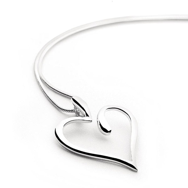Silver curved heart pendant on snake chain