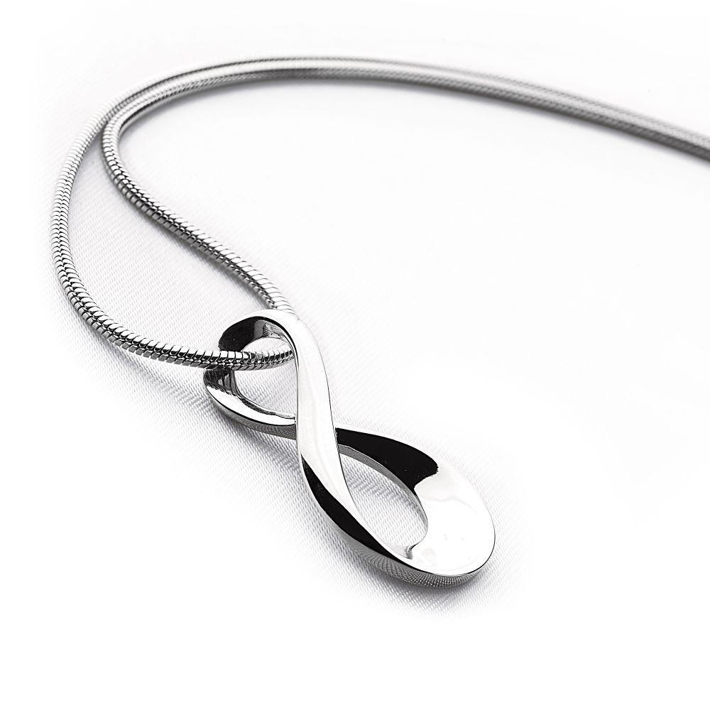 Fluid 925 sterling silver twisted figured 8 pendant on a silver snake chain