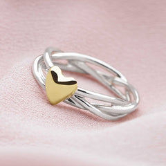 925 sterling silver triple woven ring with gold plate heart (R10081) side view