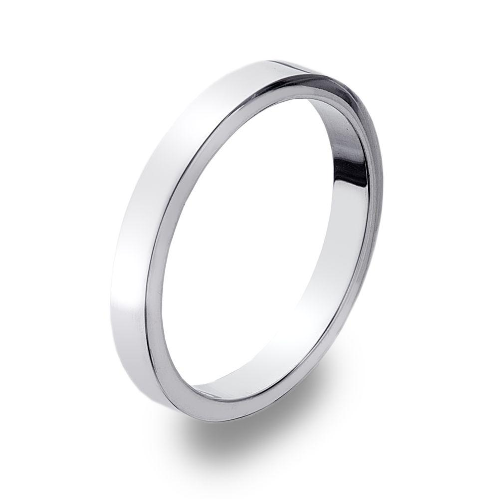 Flat-edged 925 sterling silver band ring 3 mm width