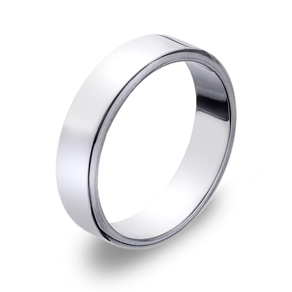 Flat-edged 925 sterling silver band ring 5 mm