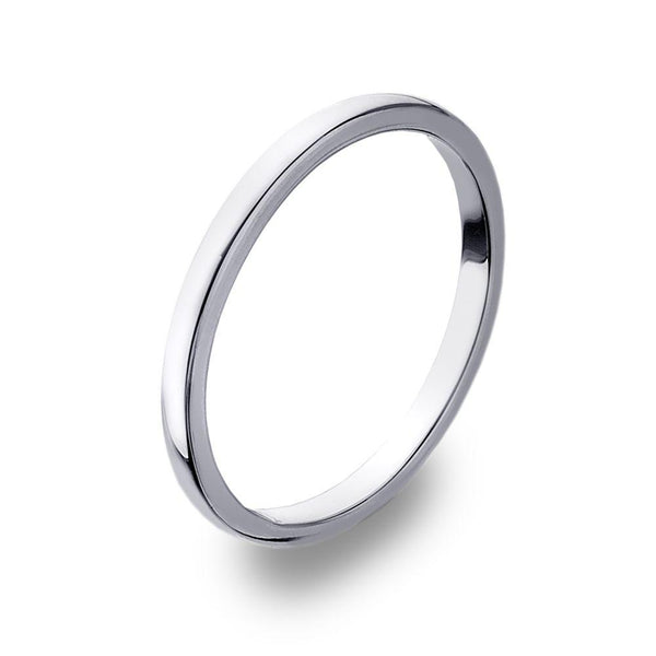 D Shape 925 sterling silver band ring, moulded with softened convex edges 2 mm