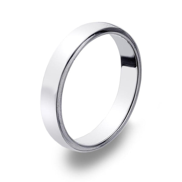 D Shape 925 sterling silver band ring, moulded with softened convex edges 4 mm