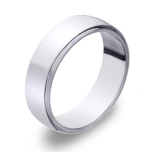 D Shape 925 sterling silver band ring, moulded with softened convex edges 6 mm