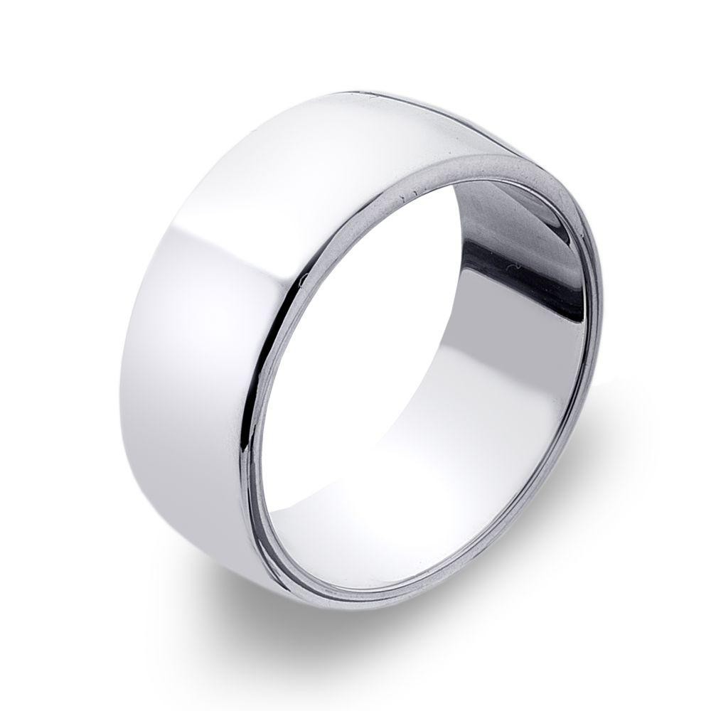 D Shape 925 sterling silver band ring, moulded with softened convex edges 8 mm