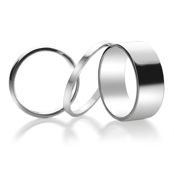 D Shaped Silver Band Ring 8mm (R1071)