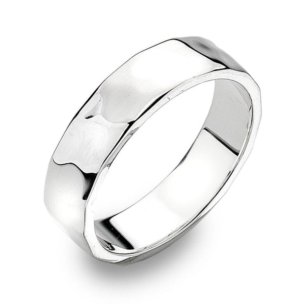 Heavyweight 925 sterling silver ring with a flat, hammered finish 5 mm