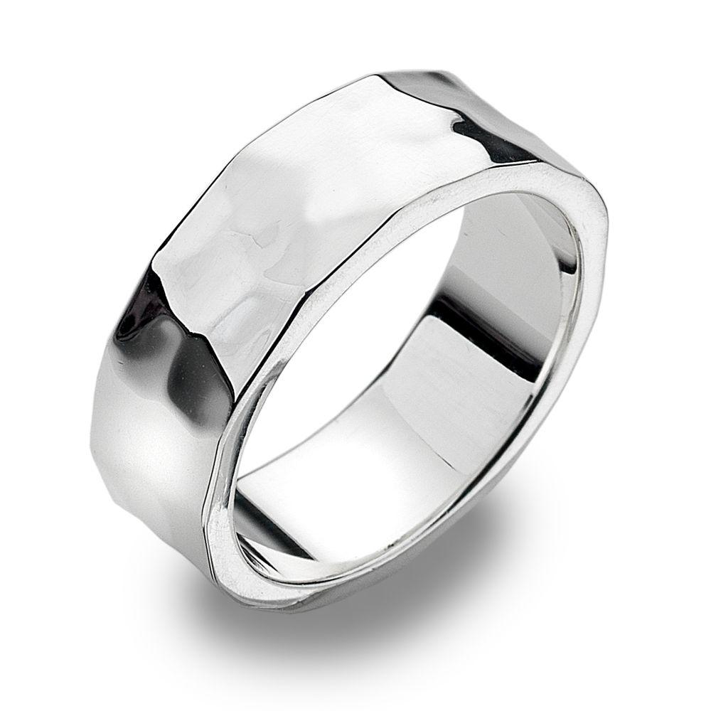 Heavyweight 925 sterling silver ring with a flat, hammered finish 7 mm