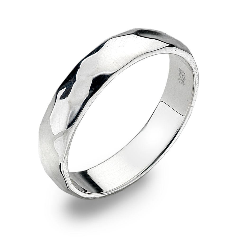 Heavyweight 925 sterling silver ring with a D-shaped, hammered finish 4 mm