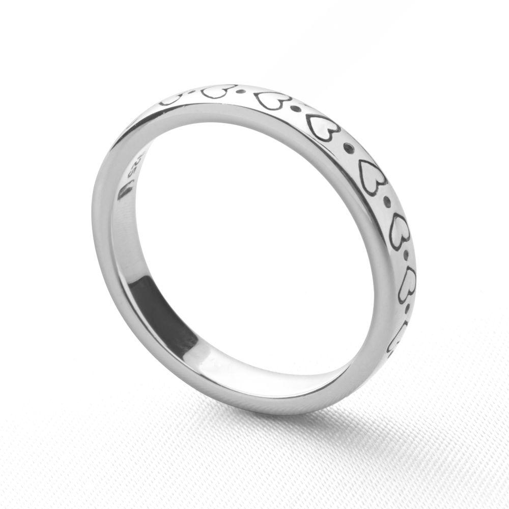 Silver hearts engraved stackable ring