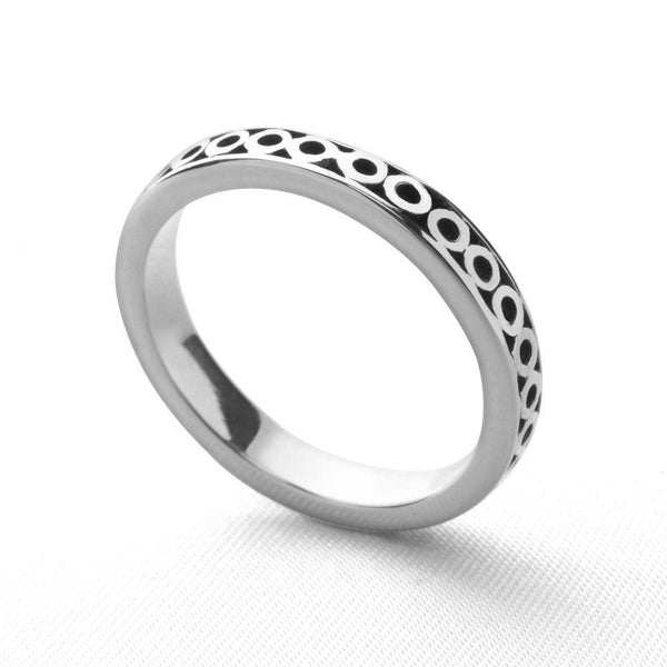 925 sterling silver circles engraved stackable ring (R11771)