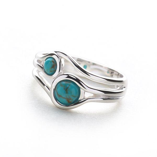 Double band of 925 sterling silver with 2 turquoise cabochons ring (R13341)