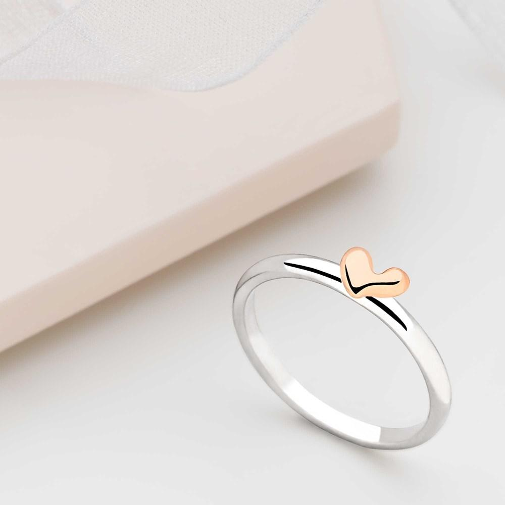 925 sterling silver rose gold heart stack ring (R14091)