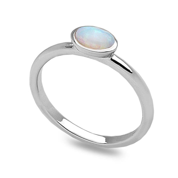 White opalite silver stack ring